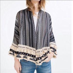 NWT Zara Boho Crocheted Bead Tassel Kimono Jacket